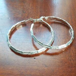 2 inch silvertone pierced earrings